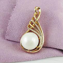 Кулон большой Xuping Jewelry Жемчужина медицинское золото позолота 18К А/В 5787