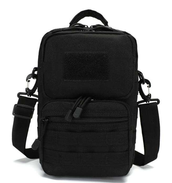 Сумка тактическая наплечная, городская сумка - органайзер MOLLE черная