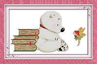 Набор для вышивания крестом с печатью на ткани NKF Белый медвежонок 11ст D109/2