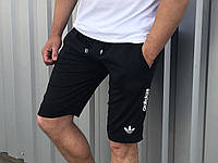Шорты мужские хлопковые с логотипом Adidas черные (реплика)