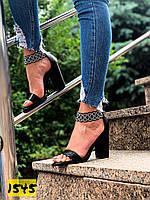 Женские черные босоножки на каблуке 35,36,37,39 размер