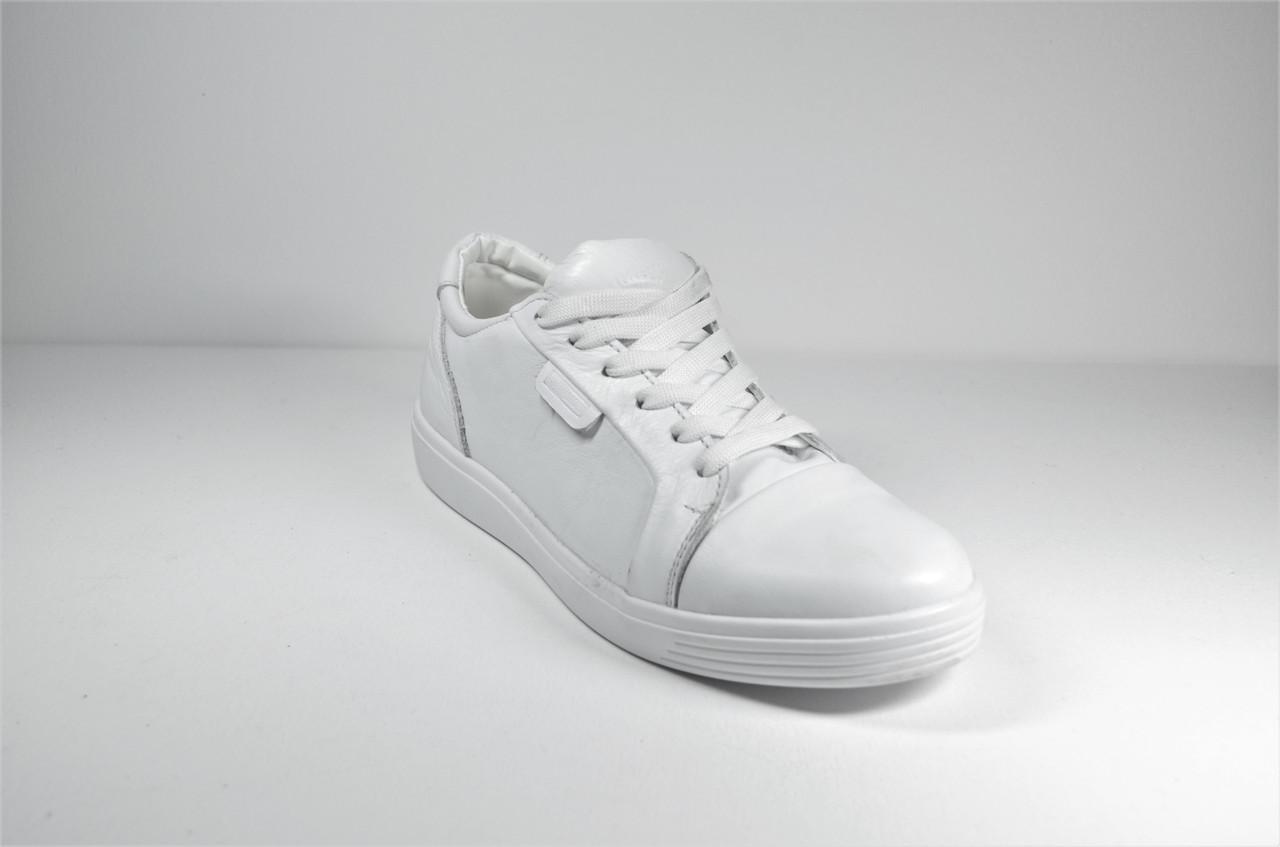 Подростковые и женские туфли кожаные кеды белые Multi-Shoes Biom