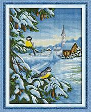 Набор для вышивания крестом NKF Синички зимой D184 канва 14ст