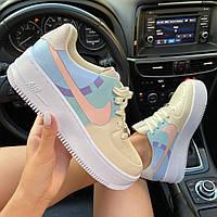 Кроссовки женские Nike Air Force 1 Sage Low LX Beige/Pale Blue-Pink (Голубой) в стиле Найк Аир Форс 1