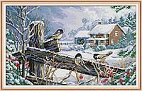 Набор для вышивания крестом с печатью на ткани NKF Птицы на заборе 14ст DA257