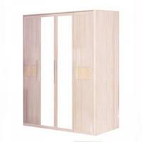 Шкаф распашной в спальню из ДСП 4Д Ясень светлый Токио Мебель Сервис