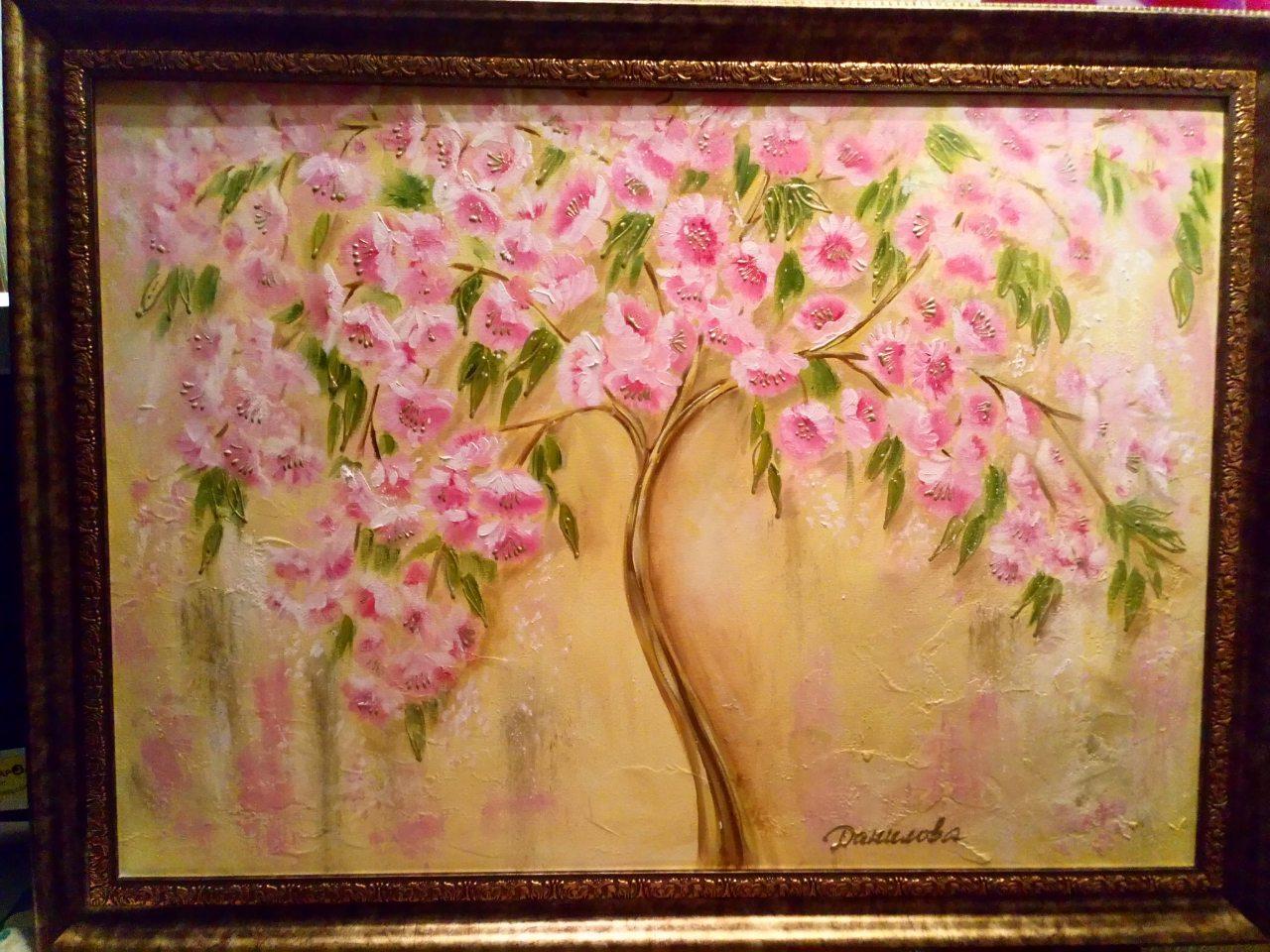 """""""Цветочное дерево""""- авторская картина маслом."""
