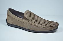 Мужские туфли мокасины нубуковые цвета латте Belvas 2010/5