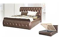 Кровать двуспальная с подъемным механизмом в гостиную/спальню из ДСП/Натуральное дерево Ткань Вегас Коричневый Лагуна Мебель Сервис