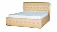 Кровать двуспальная с подъемным механизмом в гостиную/спальню из ДСП/Натуральное дерево Ткань Мадрас Бежевый Лагуна Мебель Сервис