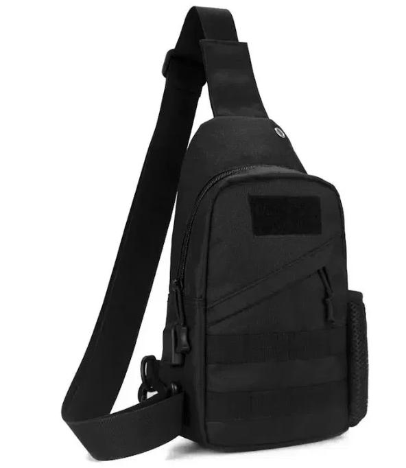 Тактическая сумка-рюкзак, бананка на одной лямке USB черная