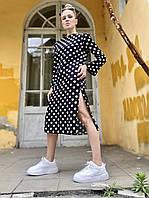 Платье женское стильное с длинным рукавом и боковыми разрезами черное  в горошек  L