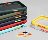 Чехол бампер soft-touch для Xiaomi Redmi 8 / Xiaomi Redmi 8A Цвет чехла тёмно-синий, кнопки - салатовые, фото 2