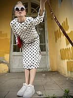 Платье женское стильное с длинным рукавом и боковыми разрезами в горошек белое L