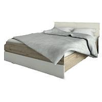 Кровать двуспальная с мягким изголовьем из ДСП 160*200 Лаура Люкс Сокме дуб веллингтон/белый с основанием под матрас