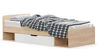 Кровать с ящиком + ортопедический вклад 90х200 Мебель Сервис Типс дуб самоа/белый матовый