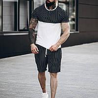 Мужской летний комплект шорты и футболка черные полосатые Турецкое производство шорты черные S M L XL размеры