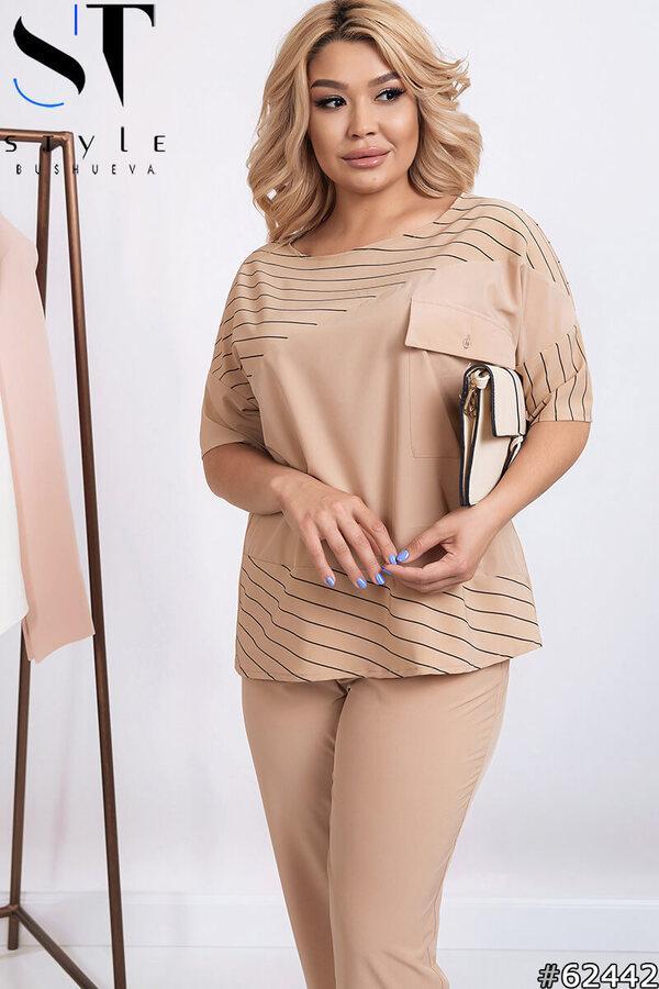 Женский деловой летний брючный костюм размеры48-62