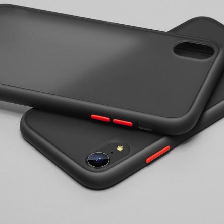Чехол бампер soft-touch для Xiaomi Redmi 8A Цвет чехла чёрный, кнопки - красные