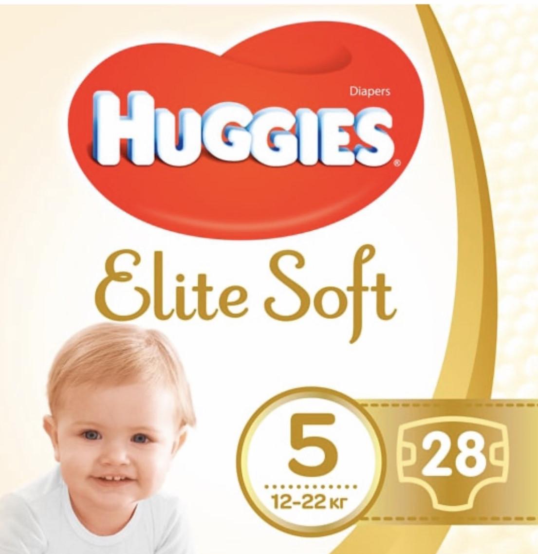Подгузники Huggies Elite Soft Джамбо (5) 12-22 кг 28шт