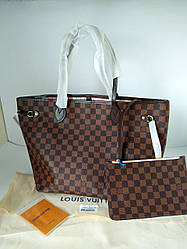 Женская сумка шопер Louis Vuitton канва шашечка