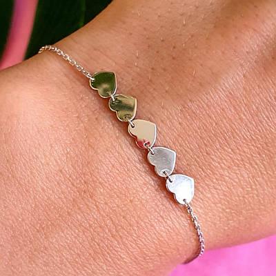Срібний родированный браслет Серця - Браслет Сердечка срібло 925 - Браслет з серцем