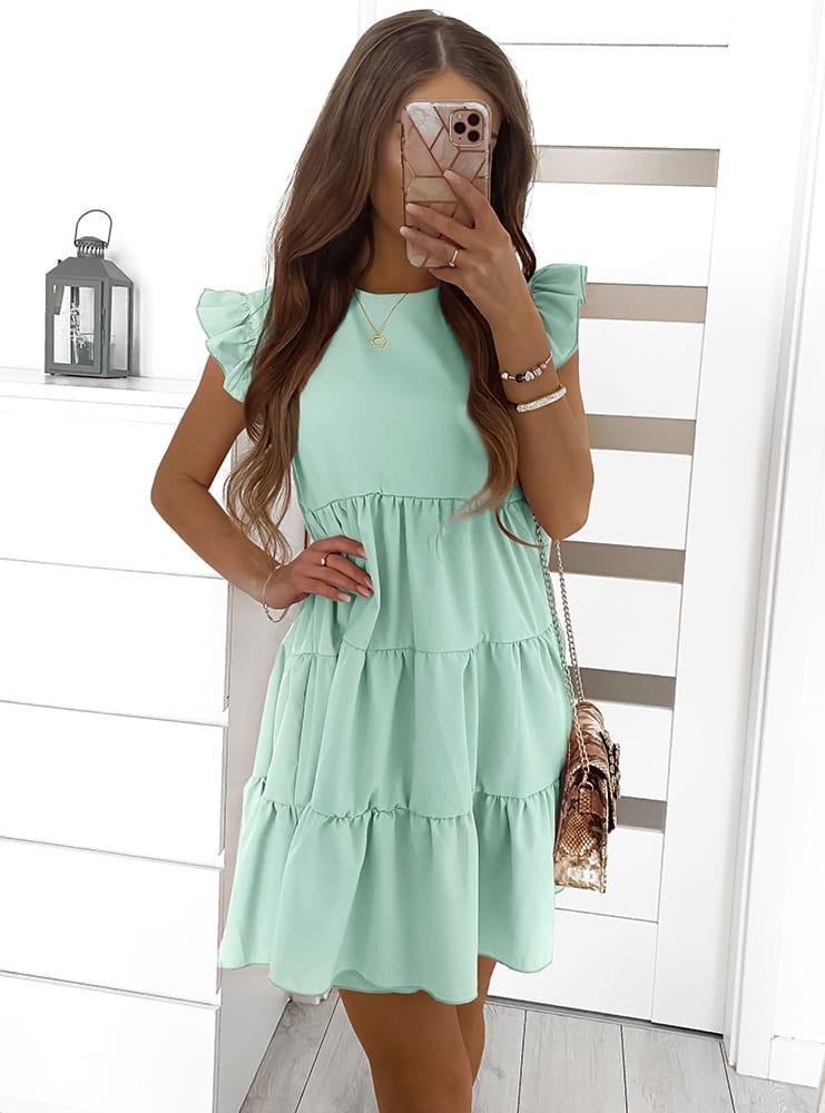 Женское платье с рюшиками Ментоловый
