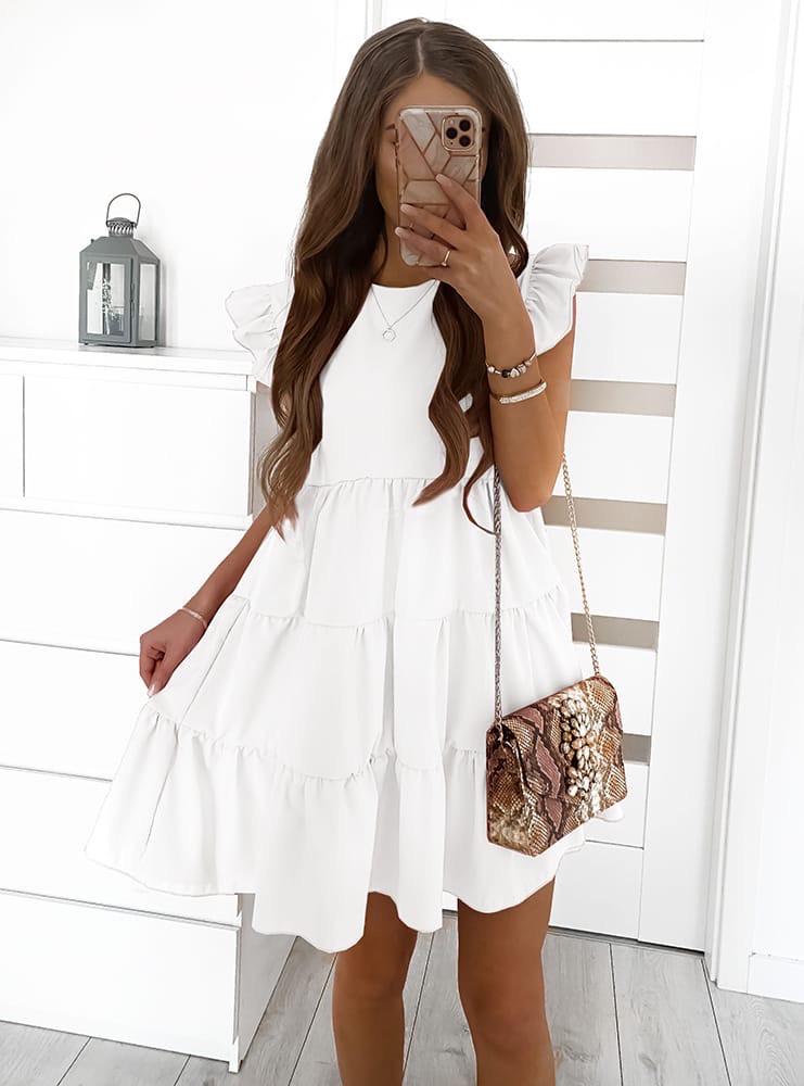 Женское платье с рюшиками Белый