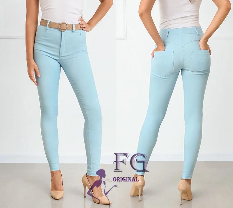 Голубые узкие женские брюки на лето высокая посадка большой размер