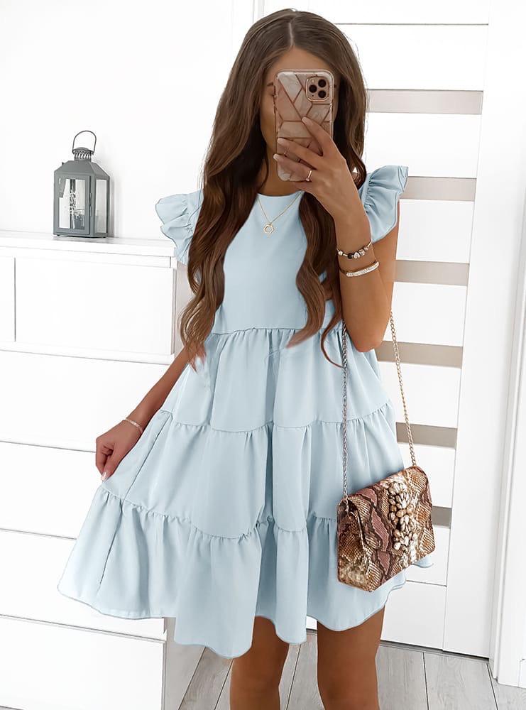 Женское платье с рюшиками Голубой