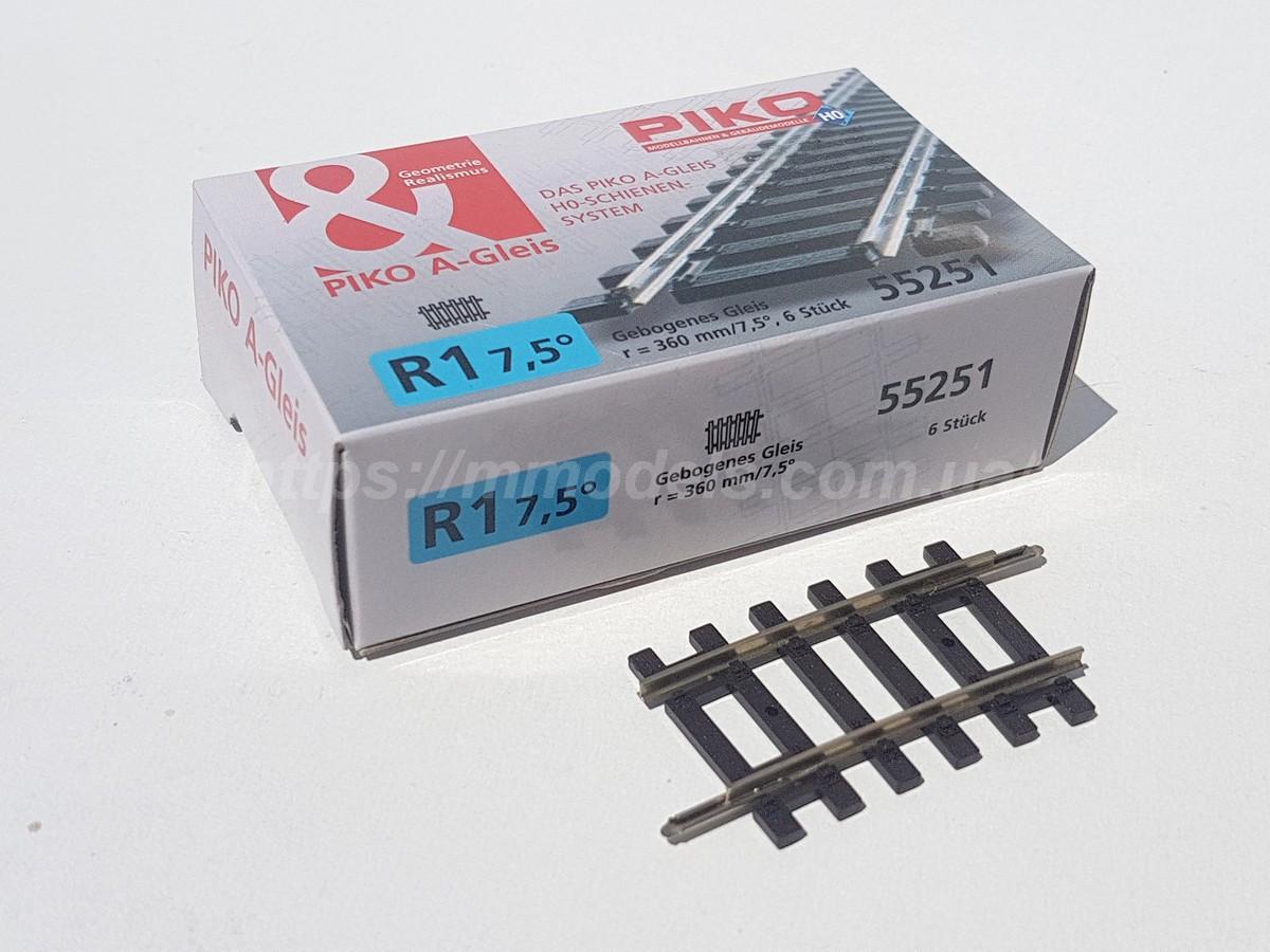 PIKO A-Gleis 55251 Рейковий матеріал радіусний рейок R1 / 7,5 °, масштабу 1:87