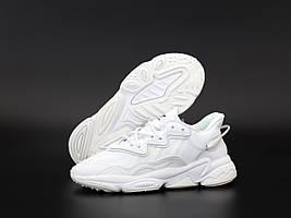 Белые кожаные кроссовки Adidas Ozweego White (Адидас Озвиго мужские и женские размеры 36-45) рефлектив