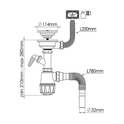 Сифон для мойки(прямоугольный перелив) NOVA 1047, фото 2