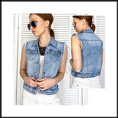 Жилетка женская джинсовая синяя весенняя коттоновая  XS-XXL 0822