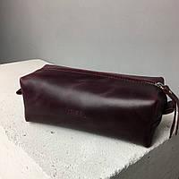 Косметичка бордовая кожаная женская (на подарок для сестры, мамы, коллеги, сотрудницы, подруги). Ручная работа