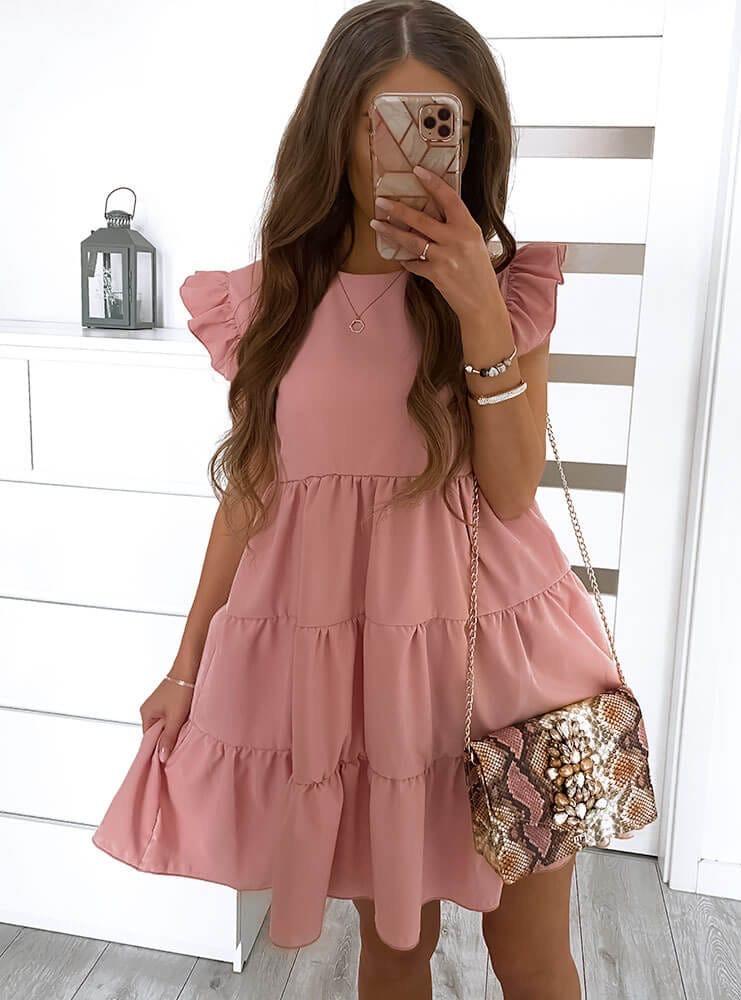 Женское платье с рюшиками Фрезовый