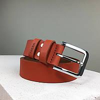 Брючный классический мужской ремень рыжего (коричневого) цвета. Гладкий кожаный ремень под классические брюки.