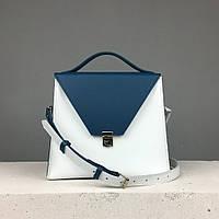 """Женская модная сумка """"Пирамида"""" из натуральной кожи ручной работы (сумочка трапеция) белая с синим"""