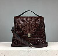 """Женская модная сумка """"Пирамида"""" из натуральной кожи ручной работы (сумочка трапеция) коричневая лакированная"""