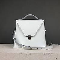 """Женская модная сумка """"Пирамида"""" из натуральной кожи ручной работы (сумочка трапеция, кросс-боди) белая"""