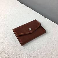 Кошелек мини рыжий (маленький кошелек, кожаный). Кошелек кардхолдер. Ручная работа