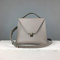 """Женская модная сумка """"Пирамида"""" из кожи ручной работы (сумочка трапеция, кросс-боди) французский серый"""