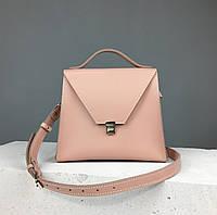 """Женская модная сумка """"Пирамида"""" из натуральной кожи ручной работы (сумочка трапеция, кросс-боди) бежевая"""
