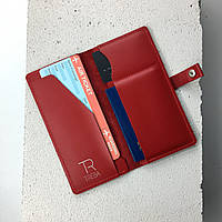Кожаный тревел кейс красный (удобный кожаный кошелек холдер для документов в путешествиях)