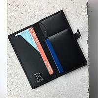 Кожаный тревел кейс черный (удобный кожаный кошелек холдер для документов, портмоне)