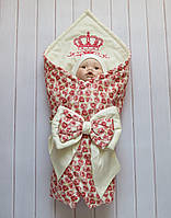 "Летний конверт-одеяло на выписку ""Принцесса роз""  75*75см"