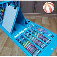 Детский Набор для творчества 208 предметов, набор художника с мольбертом для рисования художественный/2 цвета