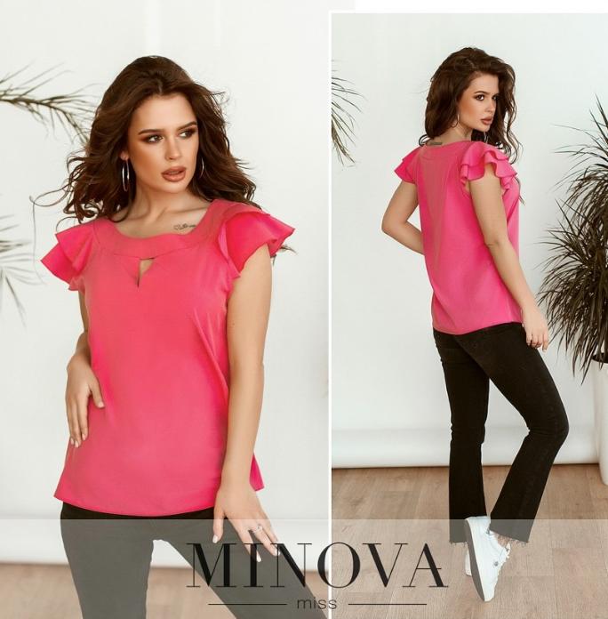 Изящная блуза с рукавами-крылышками цвет розовый Размеры : 42.44.46.48.