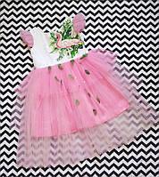 Детское нарядное платье Фламинго с перьями и ручной росписью с вышивкой  пайетками.Под заказ любой размер.