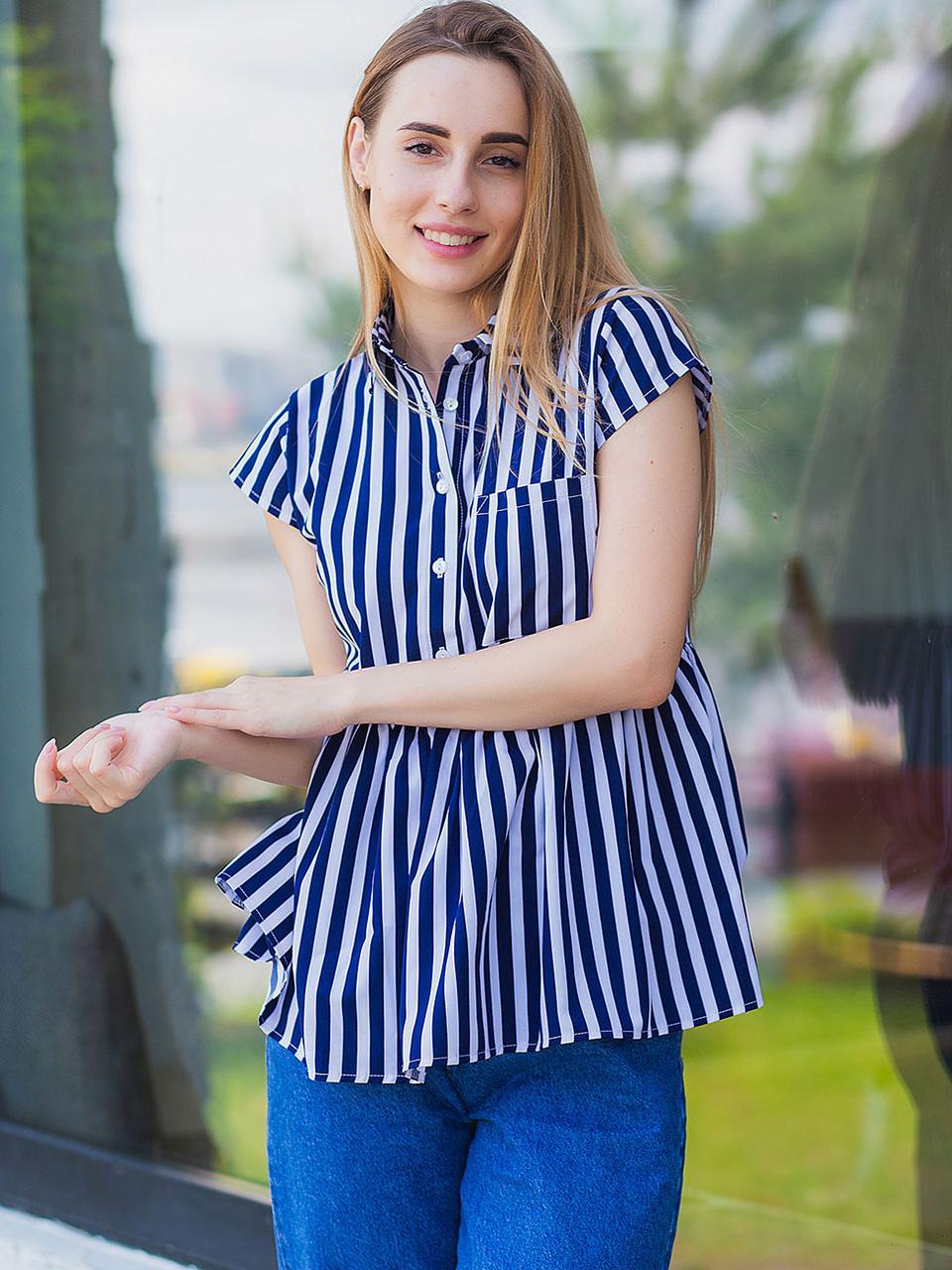 Летняя женская деловая и повседневная блуза в темно-синюю полоску размеры 42,44,46